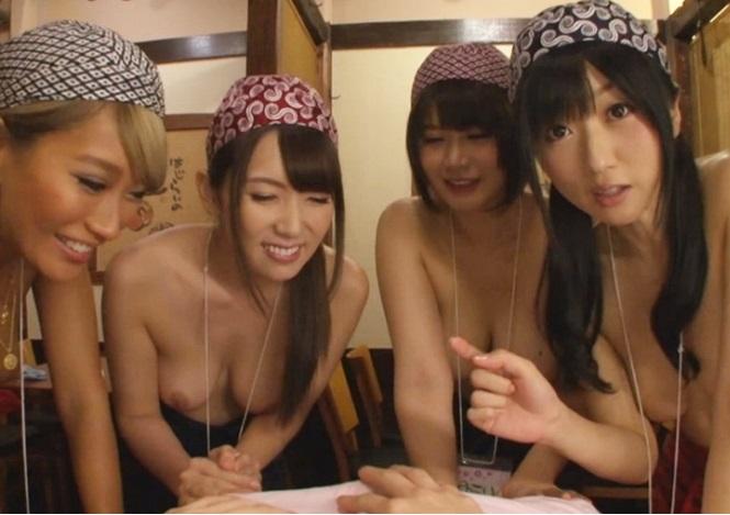 女性店員が全裸でお出迎え!経営難の居酒屋が初めたサービスに勃起が止まらない…