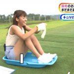 【放送事故】めざましテレビ史上最高のエロ画像はこれだよな…?岡副麻希アナのマン毛はみ出し映像www