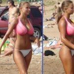猛暑が続くロシアのビーチでとんでもないロリ巨乳な女子高生が撮影されるwwwww