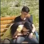 【カップル盗撮】公園のベンチで彼女にフェラチオさせた男子中坊、堪らず口内射精してしまうwww